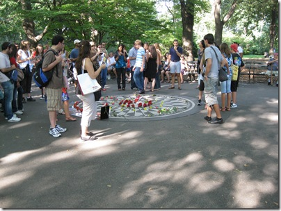 Crowd Around John Lennon Memorial