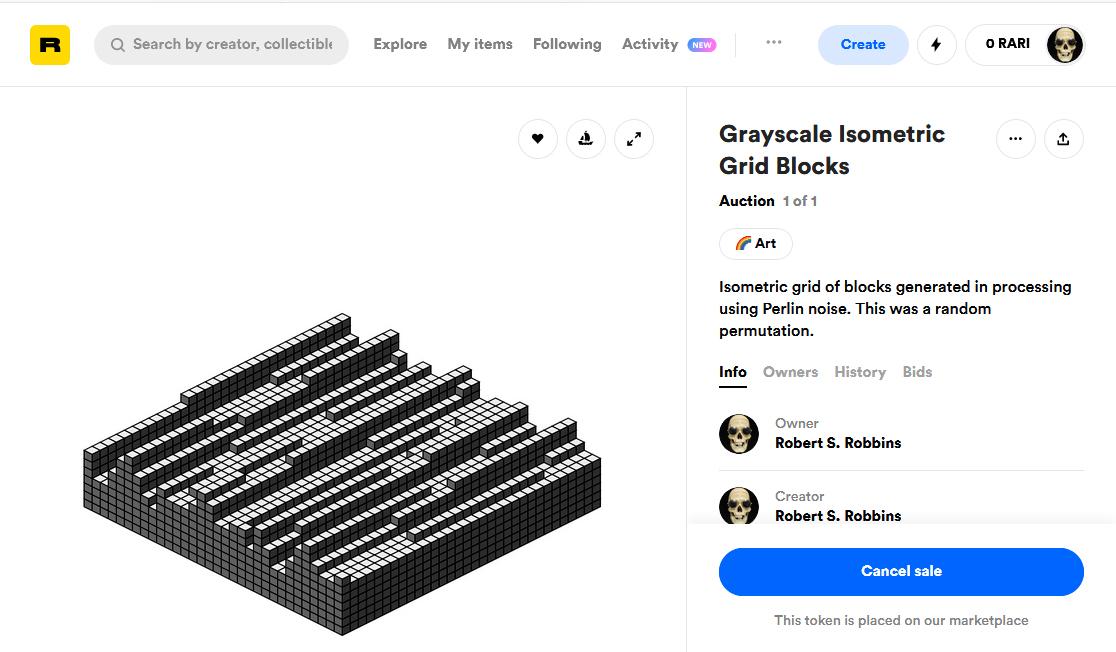 Rarible - Grayscale Isometric Grid Blocks